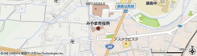 福岡県みやま市周辺の地図