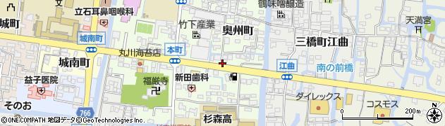 福岡県柳川市奥州町周辺の地図