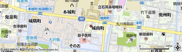 福岡県柳川市城南町周辺の地図