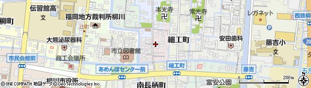 福岡県柳川市北長柄町周辺の地図