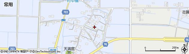 福岡県筑後市常用周辺の地図
