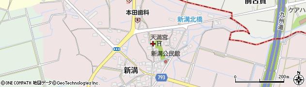 福岡県筑後市新溝周辺の地図