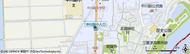 中川副小学校入口周辺の地図