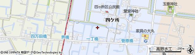 福岡県筑後市四ケ所周辺の地図