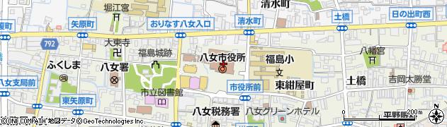 福岡県八女市周辺の地図