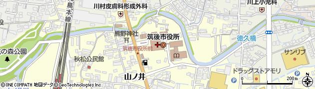 福岡県筑後市周辺の地図