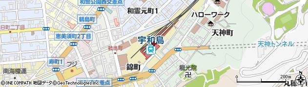 愛媛県宇和島市周辺の地図
