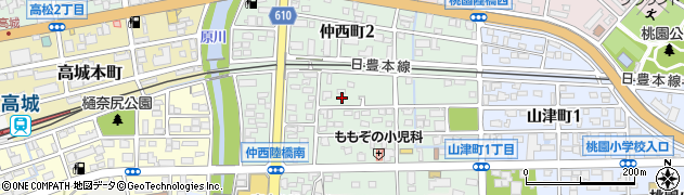 大分県大分市仲西町周辺の地図