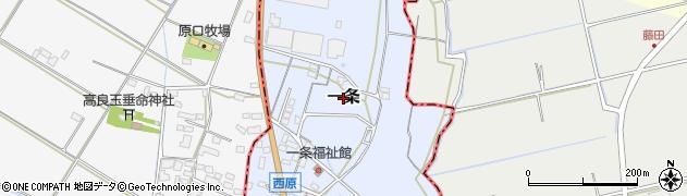 福岡県筑後市一条周辺の地図