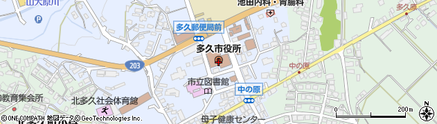 佐賀県多久市周辺の地図