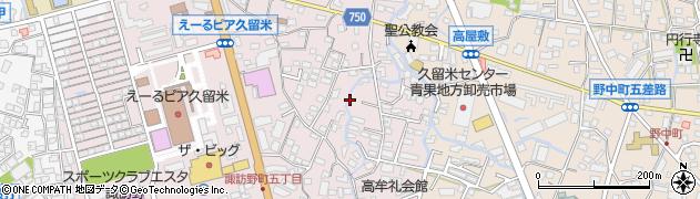 福岡県久留米市諏訪野町周辺の地図