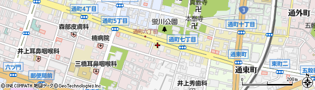 福岡県久留米市通町周辺の地図