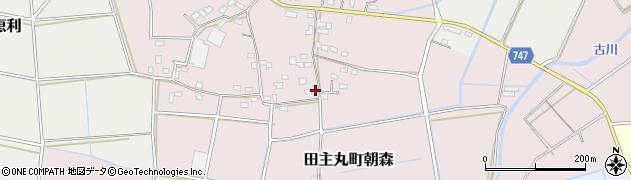 福岡県久留米市田主丸町朝森周辺の地図