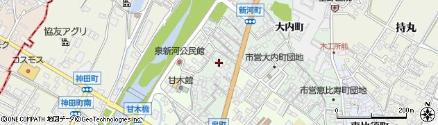 福岡県朝倉市新河町周辺の地図