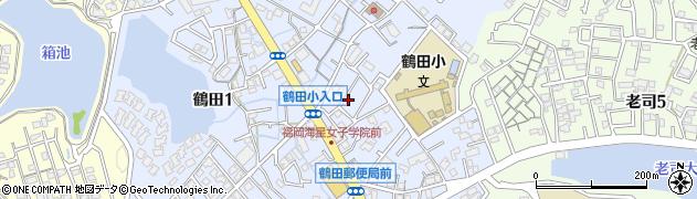 福岡県福岡市南区鶴田周辺の地図