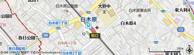 福岡県大野城市白木原周辺の地図