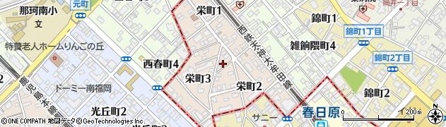 福岡県大野城市栄町周辺の地図