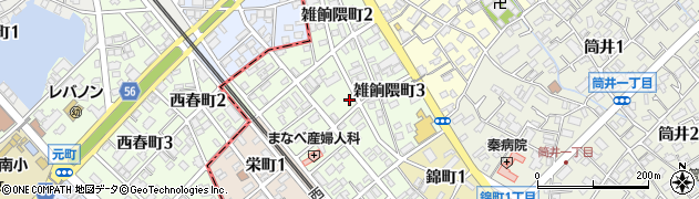 福岡県大野城市雑餉隈町周辺の地図