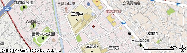 福岡県福岡市博多区三筑周辺の地図