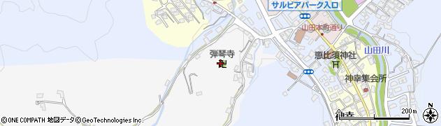 弾琴寺周辺の地図