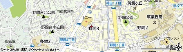 福岡県福岡市南区野間周辺の地図