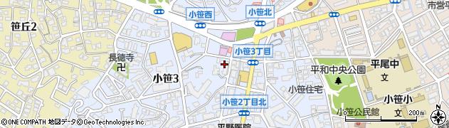 福岡県福岡市中央区小笹周辺の地図