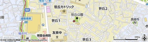 福岡県福岡市中央区笹丘周辺の地図