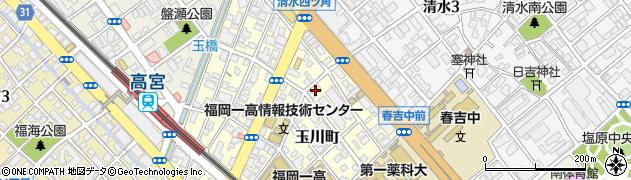 福岡県福岡市南区玉川町周辺の地図