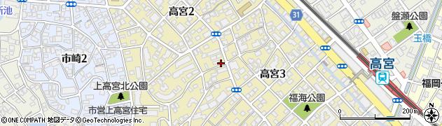福岡県福岡市南区高宮周辺の地図