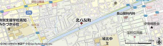 高知県高知市北八反町周辺の地図