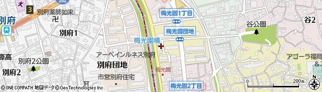福岡県福岡市中央区梅光園団地周辺の地図