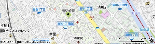 福岡県福岡市中央区高砂周辺の地図