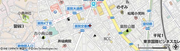 福岡県福岡市中央区薬院周辺の地図
