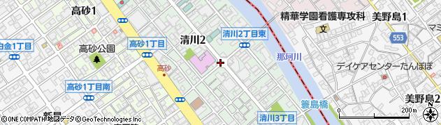 福岡県福岡市中央区清川周辺の地図