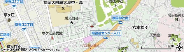 福岡県福岡市中央区六本松周辺の地図
