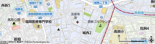 福岡県福岡市早良区城西周辺の地図