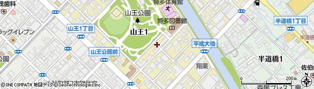 福岡県福岡市博多区山王周辺の地図