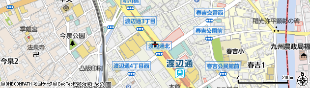 福岡県福岡市中央区渡辺通周辺の地図
