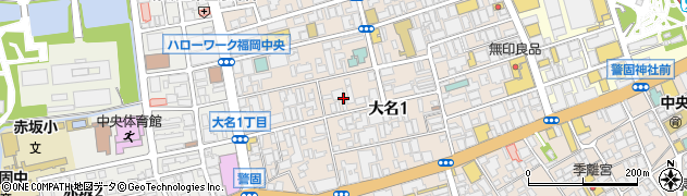 福岡県福岡市中央区大名1丁目10周辺の地図