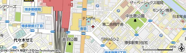 福岡県福岡市博多区博多駅東2丁目5-19周辺の地図