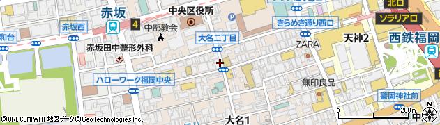 福岡県福岡市中央区大名周辺の地図