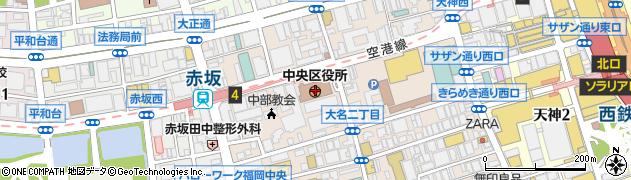 福岡県福岡市中央区周辺の地図