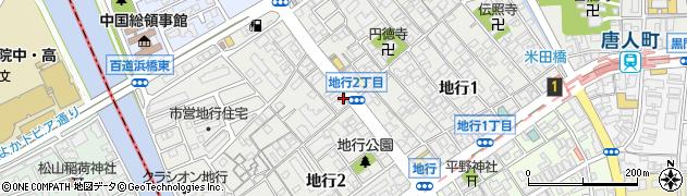 福岡県福岡市中央区地行周辺の地図