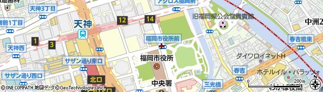 福岡市役所前周辺の地図