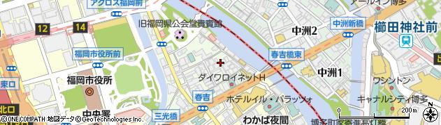 福岡県福岡市中央区西中洲周辺の地図
