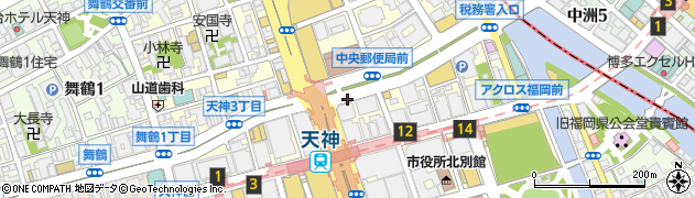 福岡県福岡市中央区天神周辺の地図