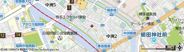 福岡県福岡市博多区中洲周辺の地図