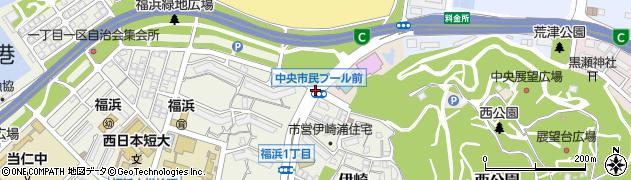 中央市民プール前周辺の地図