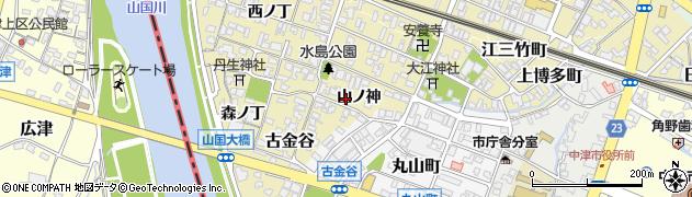 大分県中津市金谷(山ノ神)周辺の地図