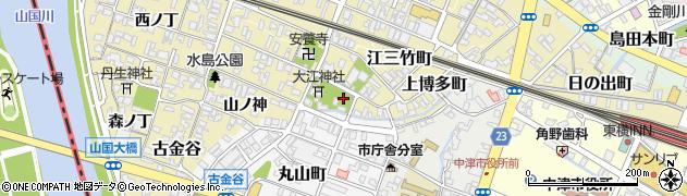 大分県中津市萱津町周辺の地図